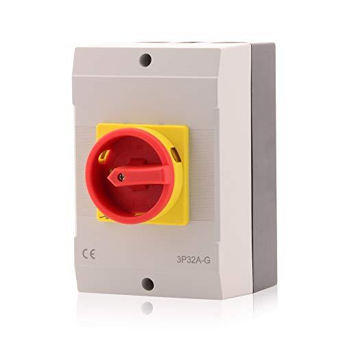 Hauptschalter Leistungsschalter 32A, IP 65, 3-polig im Gehäuse, Drehschalter für alle industriellen Anforderungen