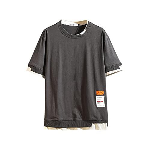 GURUNVANI Camiseta de manga corta de los hombres Hip Hop camiseta O-cuello de verano Tee, 3168gris, XXL/3XL