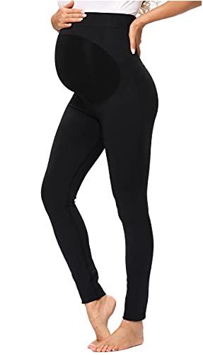 DYLISEA Leggins Premamá Talla Grande en Algodon, Pantalones Premama Ropa de Maternidad Mujer,Pantalones para Embarazadas Negro, Largos Embarazo Ropa Deporte para Mujer (Negro A, S)