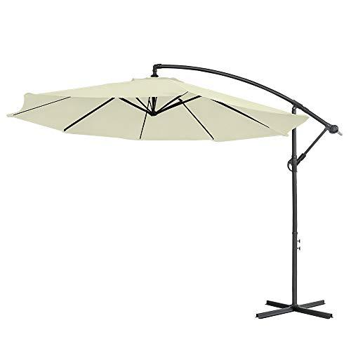 UISEBRT 300cm Alu Sonnenschirme höhenverstellbarer mit kurbel - Beige Gartenschirm Balkonschirm UV Schutz 40+ (300cm,Beige)