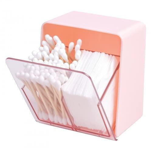 Pinsheng Organizador de Maquillaje 2 Secciones con Tapa, Soporte para Hisopos de Algodón, Caja Dispensadora de Almohadillas de Maquillaje para Baño, Encimera, Oficina, Hogar(Rosa)