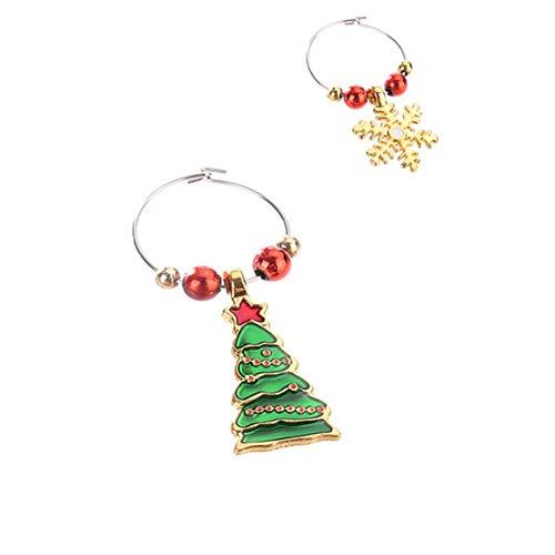 Weinglas Dekoration Ring Weihnachten Weinglas Dekor Familie Neujahr Cup Ring Weihnachten Anhänger Metall Ring Dekor (Farbe: multicolor)