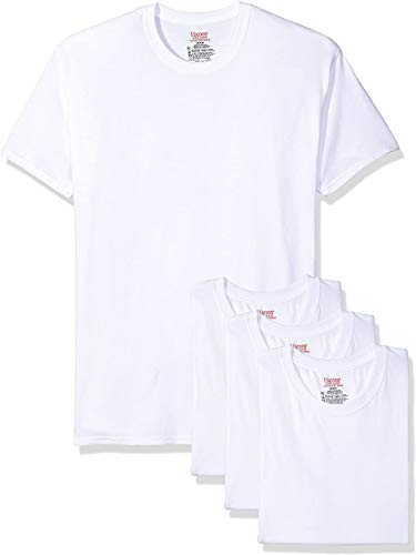 Hanes Ultimate Men's 4-Pack FreshIQ Stretch Crew, White, Large
