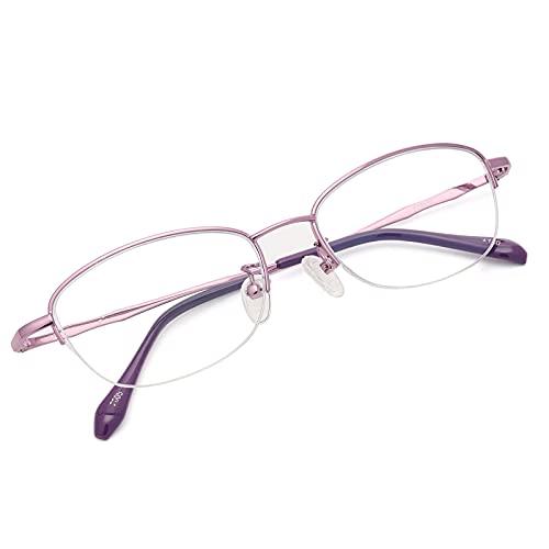 老眼鏡 レディース 遠近両用 累進多焦点 ブルーライトカット UVカット リーディンググラス 調節可能 PC モバイル 軽量 ケース付き プレゼント… (Purple, 度数+1.5)