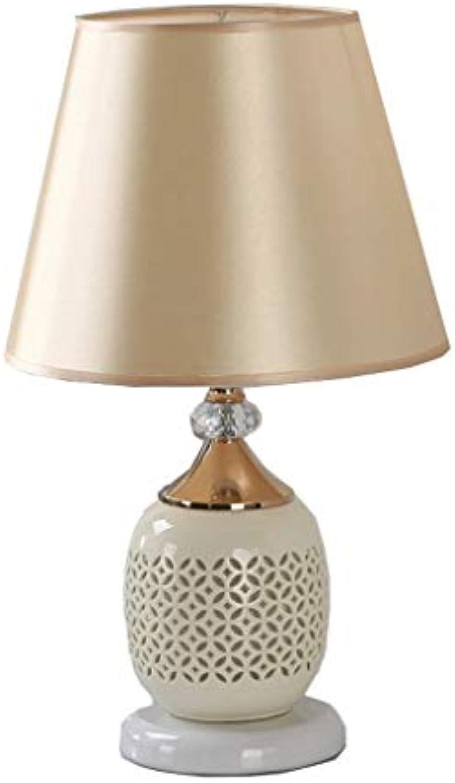 Tischlampe Moderne Keramik Nachttisch, Hohl Cloth Prozesstastenschalter-Gelb Beleuchtung Tisch