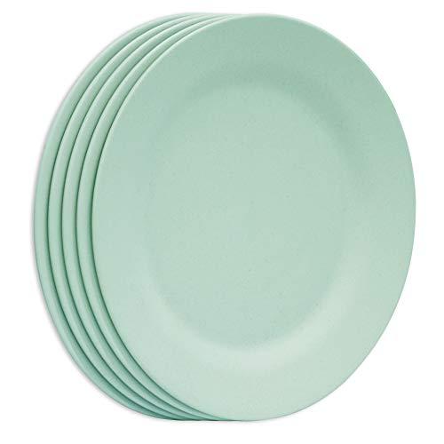 Juego de platos de cena de 11 pulgadas, platos de pasta extra grandes, platos irrompibles, vajilla de ensalada de paja de trigo ligero, vajilla de postre de fibra reutilizable (verde)