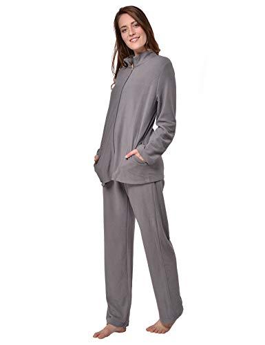 RAIKOU Damen Hausanzug Elegant Volltonfarbe Micro-Fleece Schlafanzug Freizeitanzug Hausanzug mit Reißverschluss (44/46,Grau)