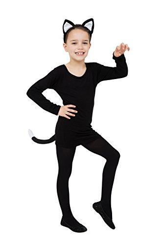 Cat Set Noir (Oreilles + Queue) Déguisement pour Pussy Félin Costume Déguisement Kit set