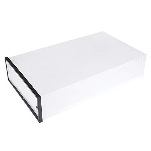 Caja de almacenamiento transparente para botas de plástico grueso hasta la rodilla, apilable para organizador de clóset (negro)