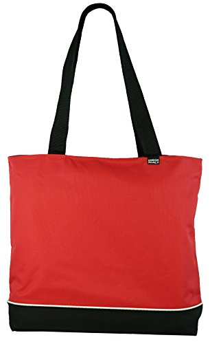 Shoulder Tote Bag with Zipper, Red
