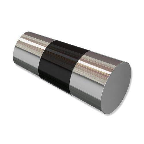 INTERDECO Endstücke Konus Chrom/Schwarz (Bicolor) aus Metall für Gardinenstangen 20 mm Ø (2 Stück)