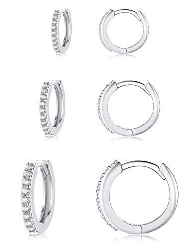 Creolen Silber 925 Ohrringe, 3 Paar Hypoallergen Klein Huggies Creolen Silber Damen Sterling Silber Pfosten 5A Zirkonia Ohrringe Set Schmuck Geschenke für Damen Herren (8/10/12mm)