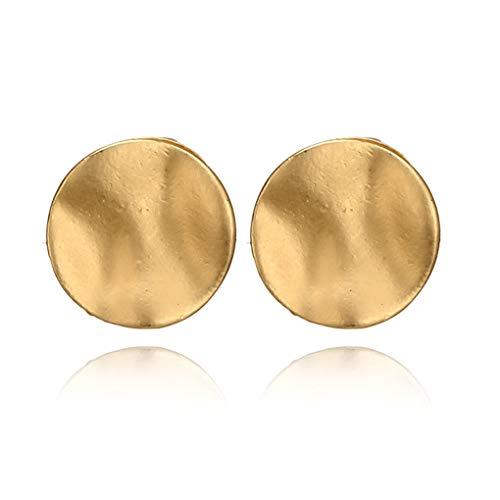 LittleB Vintage Coin Earrings Geometric Circular Studs Earring Minimal Earring Jewelry for Women and Girls. (Gold)