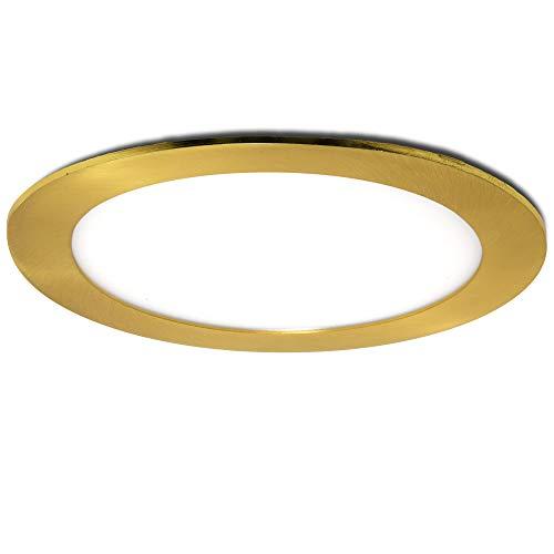 Greenice | Placa de LEDs Circular Ø170Mm 12W 860Lm 50.000H Dorado | Lámpara LED | Downlight LED | Panel LED Techo | Oficina, Fábrica, Pasillos, Baños | Blanco Cálido