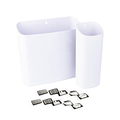 Lint Bin Holders with Magnetic Back Set of 2 Large and Small by JS Jackson Supplies Space Saving Trash Bin and Organizer for Laundry Room and Kitchen in White also Wall Mountable