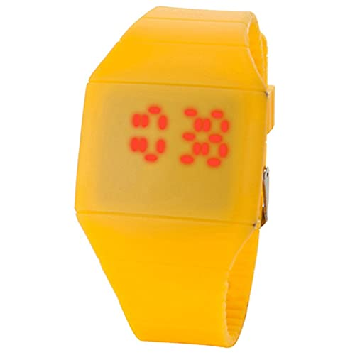 Orologio Digitale a LED con Schermo Quadrato Orologio elettronico per Studenti Orologio Sportivo per Il Tempo Libero Giallo