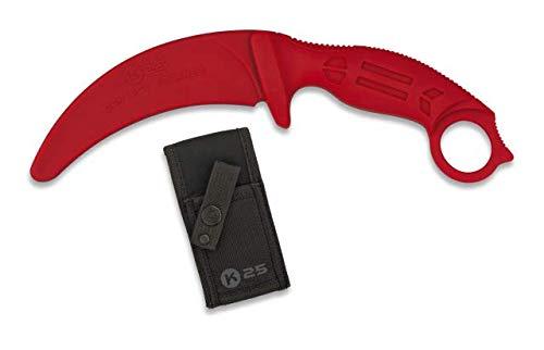 Cuchillo Entrenamiento Karambit goma Rojo Hoja 10,6 para entrenar artes marciales, dummy, airsoft, paintball, practicar , decoración, 100% seguro K25 32335 + Portabotellas de regalo