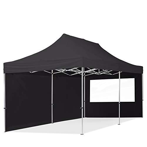 TOOLPORT PopUp Gazebo Aluminium 3x6m - 2 sidewalls Folding tent Party tent PES300 Market Shelter 100% waterproof roof black