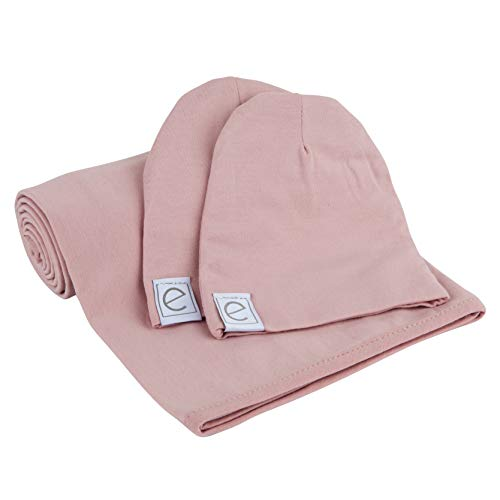 Ely's & Co. Cotton Knit Jersey Swaddle Blanket and 2 Beanie Gift Set, Large Receiving Blanket - Mauve Lavender
