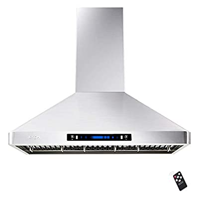 IKTCH 30'' Wall Mount Range Hood, 900 CFM Stainless Steel Kitchen Chimney Vent with Gesture Sensing & Touch Control, Ducted/Ductless Convertible, 2 Pcs Adjustable Lights, 2 Pcs Baffle Filter IKP02R-30