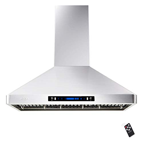 IKTCH 36'' Wall Mount Range Hood, 900 CFM Stainless Steel Kitchen Chimney Vent with Gesture Sensing & Touch Control, Ducted/Ductless Convertible, 2 Pcs Adjustable Lights, 3 Pcs Baffle Filter IKP02R-36