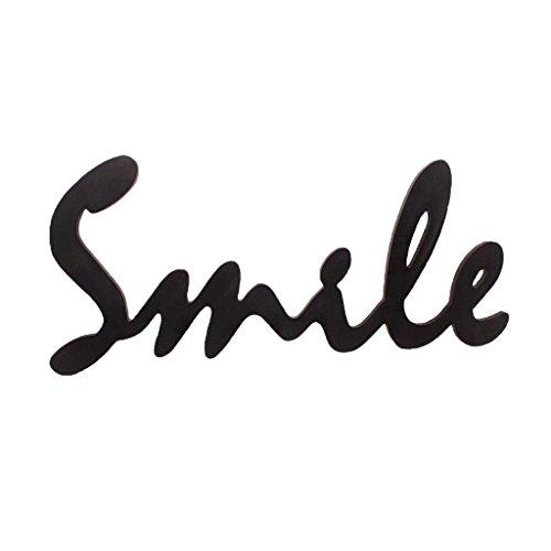 Smile Carta De Madera Letrero Decoración De Arte De Pared para Accesorios De Fotos De Bodas En Casa - Blanco, Individual - Negro