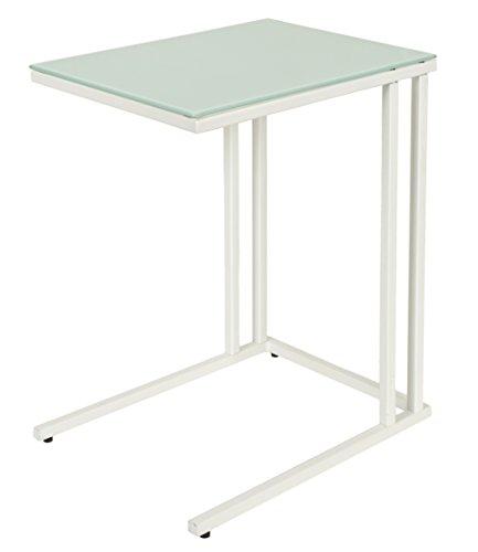 ts-ideen bijzettafel, salontafel, nachtkastje, 30 x 40 cm, wit, met wit metalen frame, glasplaat ESG-glas, 5 mm glazen tafel