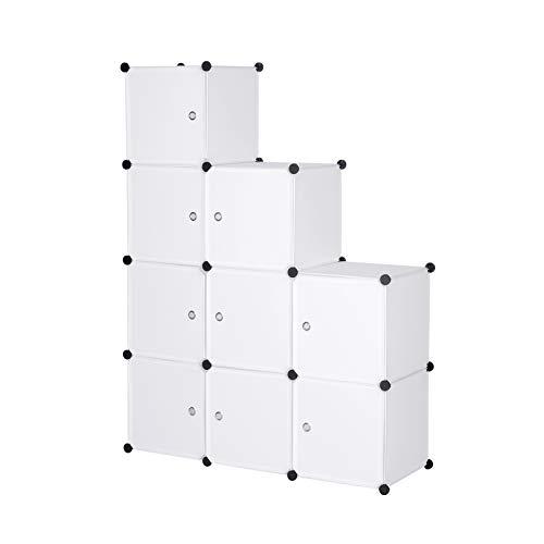 WOLTU Armario Modular Estantería por Módulos DIY, Armario de 9 Cubos con Puertas, para Almanceje de Ropa, Juguetes, Zapatos 111x37x111cm Blanco SR0055ws