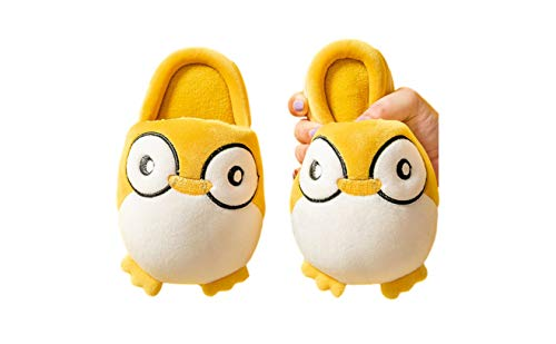 NewAnimeJp Toddler Girls Penguin Slippers Cartoon Plush Toilet Shoes for Kids (Yellow, Small)