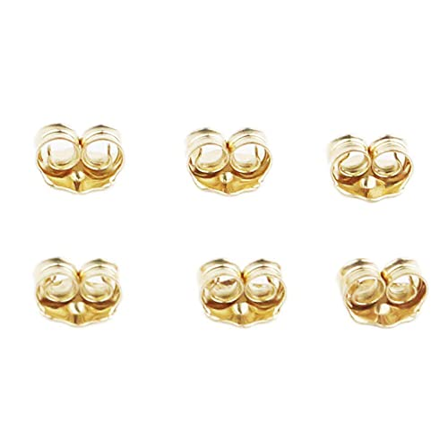 Orgrimmar 14K Gold Earring Backs Yellow Ear Locking for Stud Ear Rings (3 Pairs)