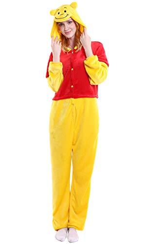 """Dolamen Erwachsene Unisex Jumpsuits, Kostüm Tier Onesie Nachthemd Schlafanzug Kapuzenpullover Nachtwäsche Cosplay Kigurum Fastnachtskostuem Xmas Halloween (Medium (61""""-65""""), Winnie)"""