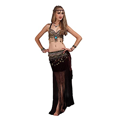 GW Falda Danza del Vientre Mujer Falda Larga Seda Danza del Vientre Mujer práctica Rendimiento Vestido,Marrón,C/L