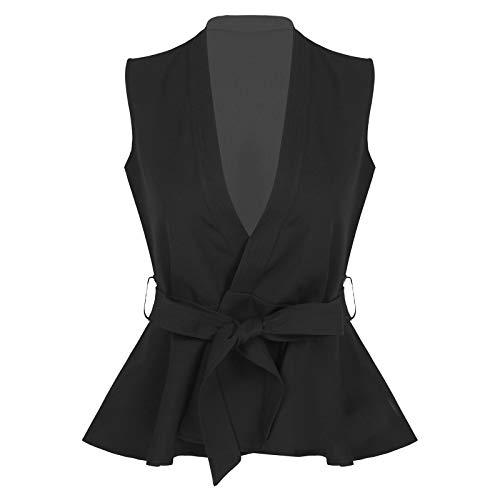 Agoky Chaleco Mujer Chica Vestimenta Classico Traje Formal de Fiesta Ceremonia Bautizo Boda Algodón Camisa sin Mangas V Cuello Botones Uniforme Camarera Suit Vest Waistcoat Black XXL