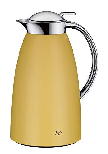 alfi Isolierkanne Gusto, Thermoskanne Edelstahl gelb 1L, alfiDur Glaseinsatz, auslaufsicher, hält 12 Stunden heiß, 3561.295.100 ideal als Kaffeekanne oder als Teekanne, Kanne für 8 Tassen