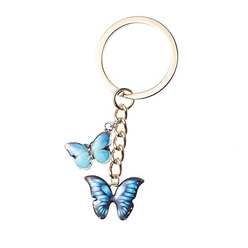 Llavero Mariposa Colorida Llavero Titular De Anillo Encanto Moda Llavero Simple Bolso Colgante Joyería-2_Blue_Butterfly_