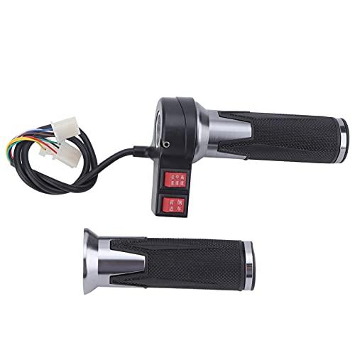 Bnineteenteam Puño del Acelerador de Bicicleta eléctrica, 1 par de puños de Goma de 3 velocidades para Acelerador para Bicicleta eléctrica con Engranaje de Avance y Retroceso Plateado Negro