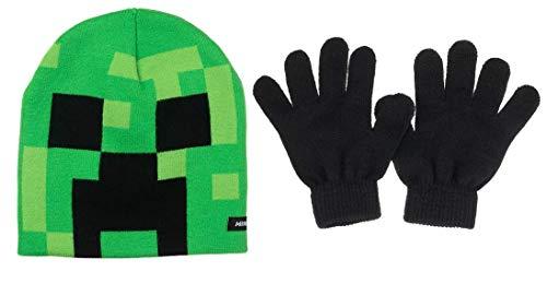 Minecraft Creeper Face Kinder Mütze und Handschuhe, Grün
