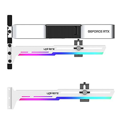upHere GPU Brace Blanc Carte Graphique ARGB LED Sync Ajustable Selon la Carte Graphique pour Raidisseur de Support Carte Vidéo