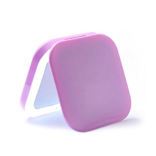 FYCZ Cosmétique Miroir LED Portable Portable Miroir De Maquillage Rechargeable 3x Loupe Pour Soins de La Peau Cosmétique Rasage Et Voyager (Couleur : Purple)