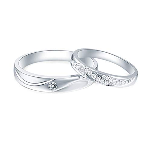 Daesar 18ct White Gold Wedding Ring for Women and Men Couples Rings Customize Wave Round with 0.17ct Diamond Rings Vintage White Gold Rings Women Size N 1/2 & Men Size O 1/2