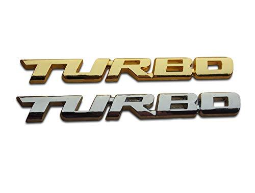 Seraphis 2 x Turbo 3D Metall Auto Aufkleber Set Gold Silber Emblem Badge Dekoration Aufkleber Decals