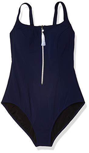 Profile by Gottex Women's Scoop Neck D-Cup One Piece Swimsuit, Zip It Up Navy, 8D