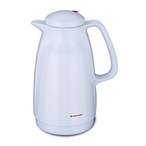 ROTPUNKT Isolierkanne 227 Bella 1,5 l | Zweifunktions-Drehverschluss | BPA-frei - gesundes Trinken | Made in Germany | Warm + Kalthaltung | Glaseinsatz | Polar