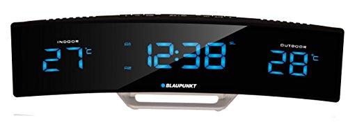 Blaupunkt CR12BK Radiowecker mit LED-Display, Temperatur Innentemperatur Außentemperatur Uhrzeit Wecker Schwarz
