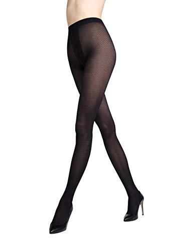 Gatta ondoorzichtige panty met patroon 40den (198-05) - panty met netpatroon geruit mat zwart visgraat - ontworpen & Made in EU
