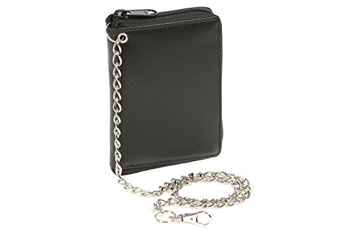 LEAS Reißverschlussbörse RFID Schutzfolie mit Chrom-Kette Echt-Leder, schwarz Chain-Series