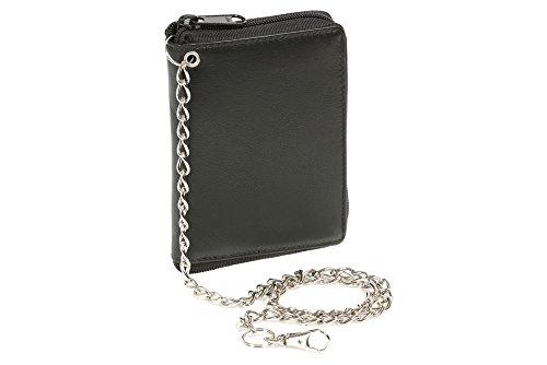 LEAS Cartera con bolsa con cremallera lateral y la cadena Monedero para señoras Protección de Informaciones privadas Cartera de Bloqueo RFID, Piel auténtica, negro Chain-Series''
