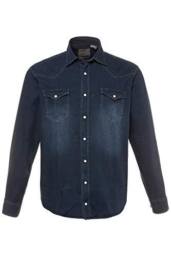 JP 1880 Herren große Größen bis 7XL, Jeans Hemd, Denim Oberteil, Kentkragen, Brusttaschen & Modern Fit, Raw Denim, Baumwolle darkblue 4XL 713110 94-4XL