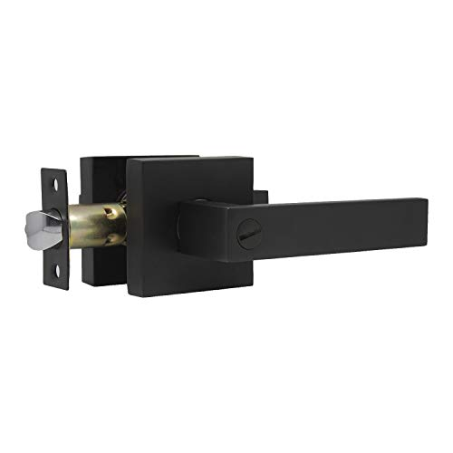 Heavy Duty Privacy Bathroom Lever Lock Set for Interior Door, Bedroom Door Handle, Matte Black Door Handle, Left or Right Handing 2.07 lb