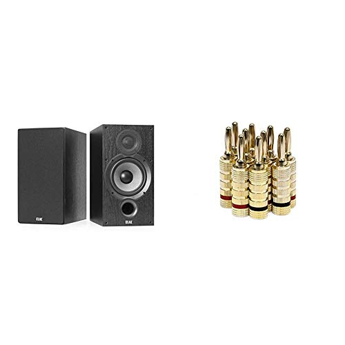 ELAC Debut 2.0 B6.2 Bookshelf Speakers, Black (Pair) & Monoprice Gold...